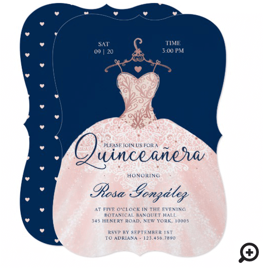 Blush Pink Quinceañera Roya Gown Navy Blue Invitation