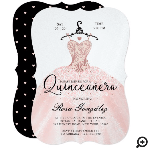 Blush Pink Quinceañera Roya Gown White Invitation