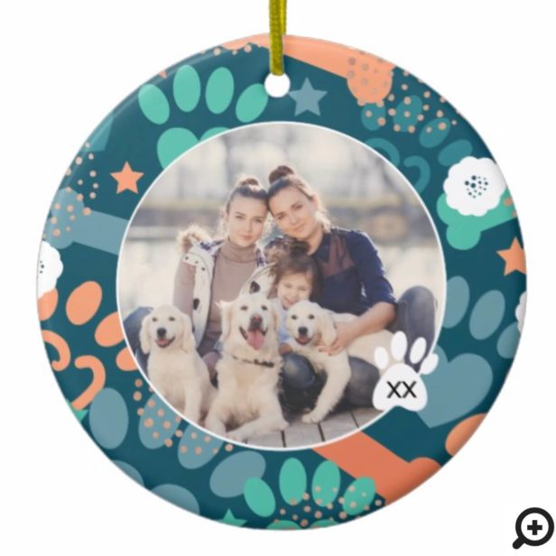 Colourful Blue Paw Prints & Bones Floral Pet Photo Ceramic Ornament