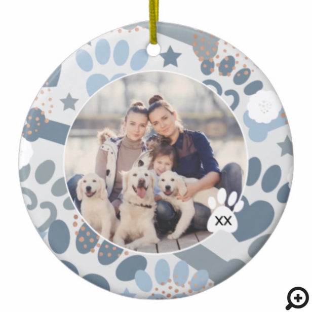 Colourful Grey Paw Prints & Bones Floral Pet Photo Ceramic Ornament