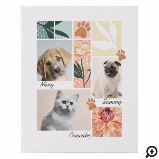 Custom Family & Pet Photo Collage Pet Theme Faux Canvas Print