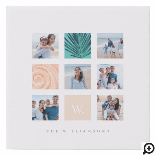 Custom Family Photo Collage Monogram Beach Theme Faux Canvas Print