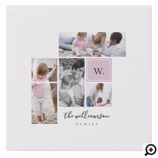 Custom Family Photo Collage Monogram Modern Theme Faux Canvas Print