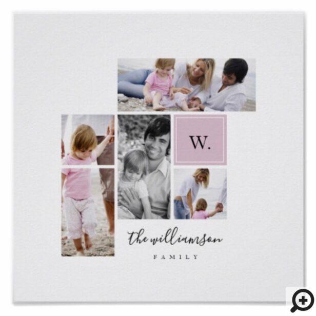 xCustom Family Photo Collage Monogram Modern Theme Poster