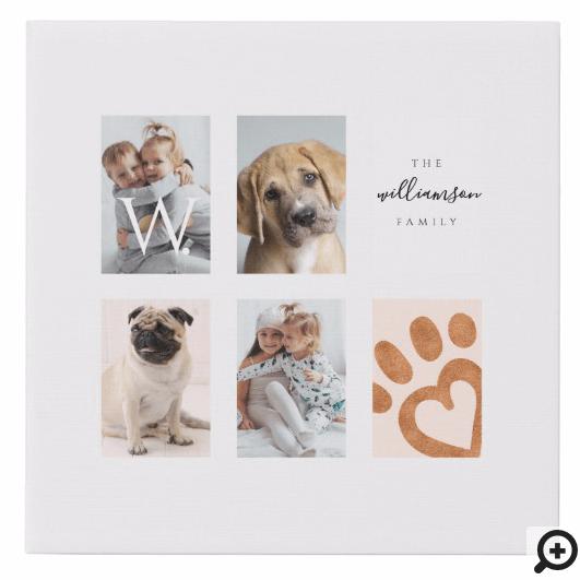 Custom Family Photo Collage Monogram Pet Theme Faux Canvas Print