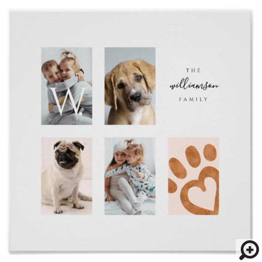Custom Family Photo Collage Monogram Pet Theme Poster