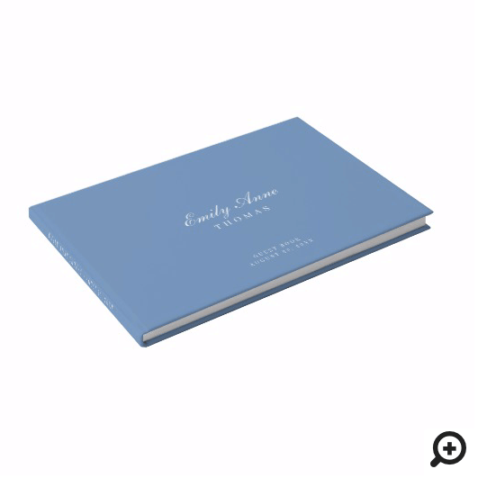 Elegant & Sophisticated Pale Sky Blue Baby Shower Guest Book