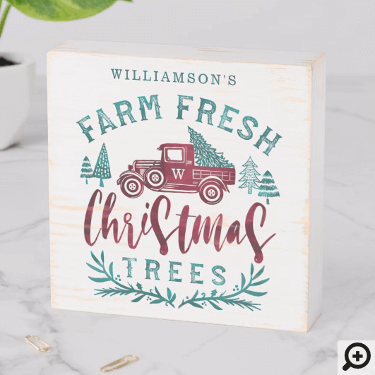 Farm Fresh Old Red Truck Christmas Tree Delivery Wooden Box Sign