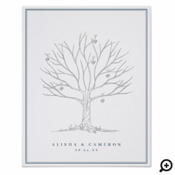 Fingerprint Tree & Monogram Wedding Guest Book