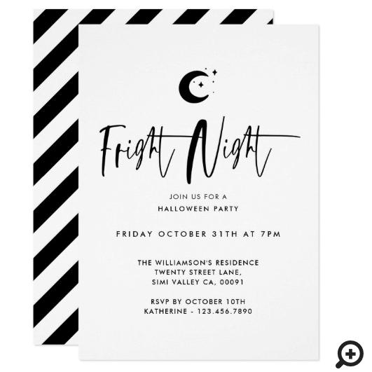 Fright Night Black Moon, Minimal Halloween Party Invitation