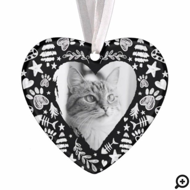 Loving Memory Black Chalkboard Cat Memorial Photo Ornament