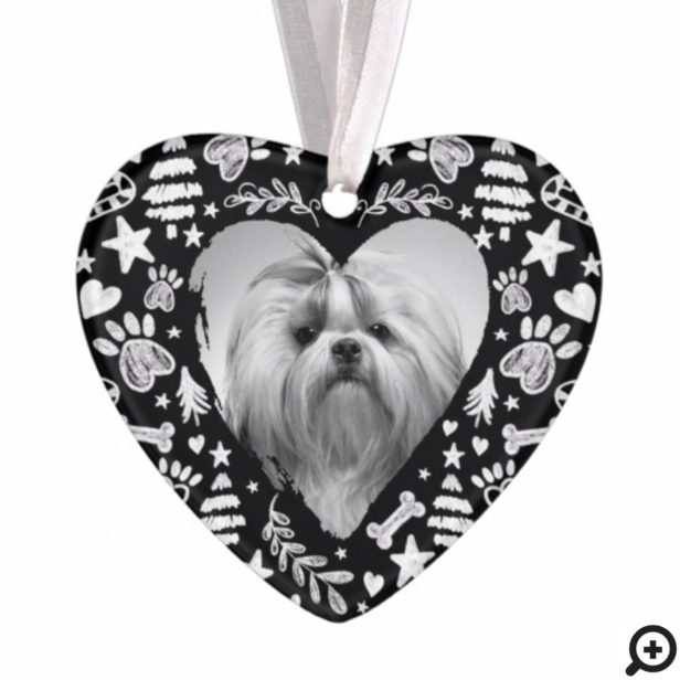 Loving Memory Black Chalkboard Dog Memorial Photo Ornament