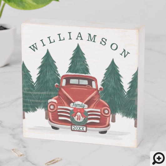 Merry Christmas Vintage Red Truck Christmas Tree Wooden Box Sign