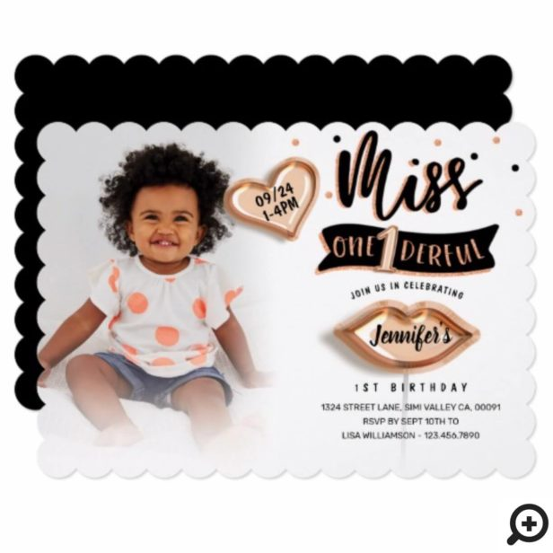 Miss One derful Rose Gold Balloons 1st Birthday Photo Invitation