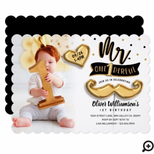 Mr One derful Gold Foil Balloon 1st Birthday Photo Horizontal Invitation