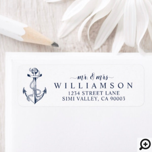 Nautical Boat Anchor & Rope Navy Mr & Mrs Label