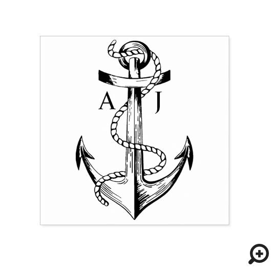 Navy Anchor & Rope Nautical Monogram Rubber Stamp
