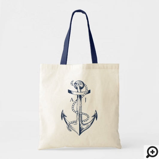 Navy Anchor & Rope Nautical Monogram Tote Bag