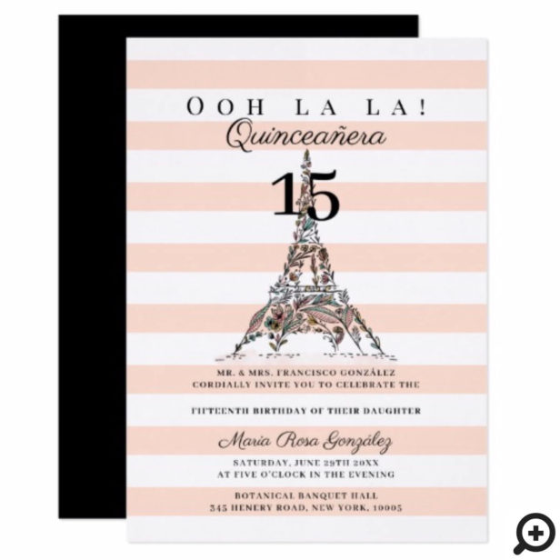 Ooh La La Floral Eiffel Tower Paris Quinceañera Invitation