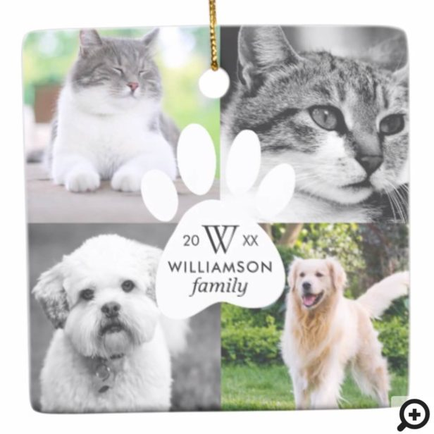 Paw Print Monogram Four Photo Family Pet Collage Ceramic Ornament