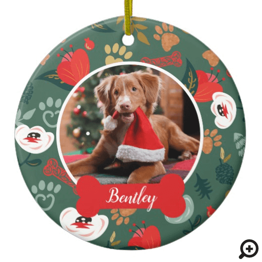 Paw Prints & Bones Green Floral Pet Photo Ceramic Ornament