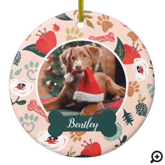 Paw Prints & Bones Pink Floral Pet Photo Ceramic Ornament