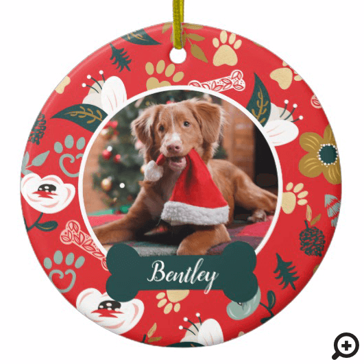 Paw Prints & Bones Red Floral Pet Photo Ceramic Ornament
