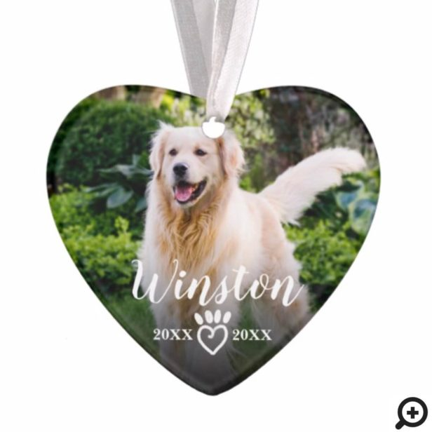 Paw Prints On Our Hearts Pet Photo Memorial Ornament