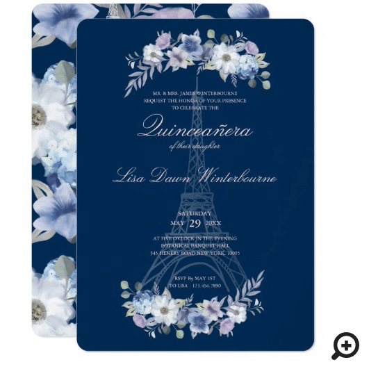 Quinceañera Paris Eiffel Tower Watercolor Floral Invitation