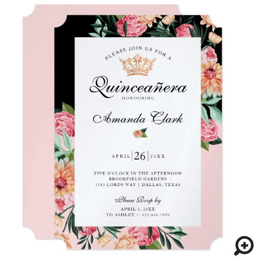 Quinceañera Timeless Bloom Watercolor Floral Crown Invitation