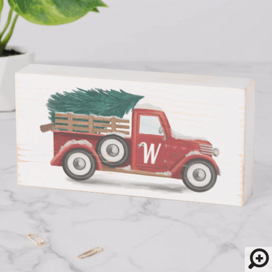 Red Vintage Truck Christmas Tree Farm Monogram Wooden Box Sign