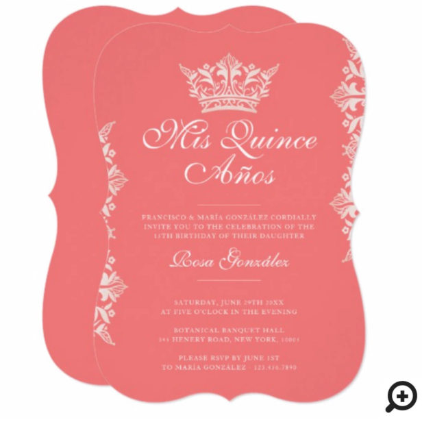 Royal Blush Leaf Crown Elegant Pink Quinceañera Invitation