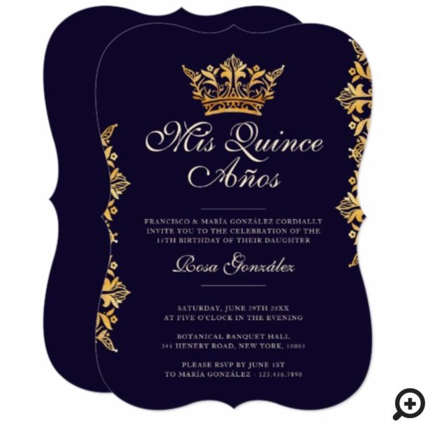 Royal Gold Leaf Crown Elegant Burgundy Quinceañera Invitation