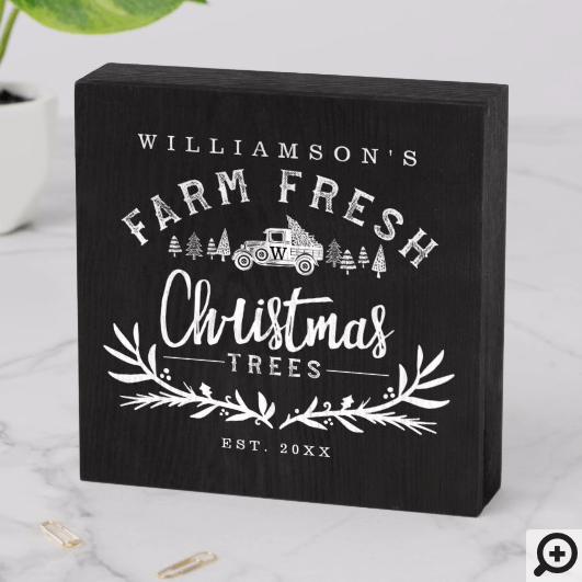 Vintage Car Christmas Tree Delivery Black & White Wooden Box Sign