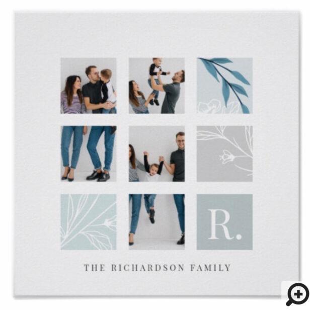 Custom Family Photo Collage Monogram Leaf Theme Poster