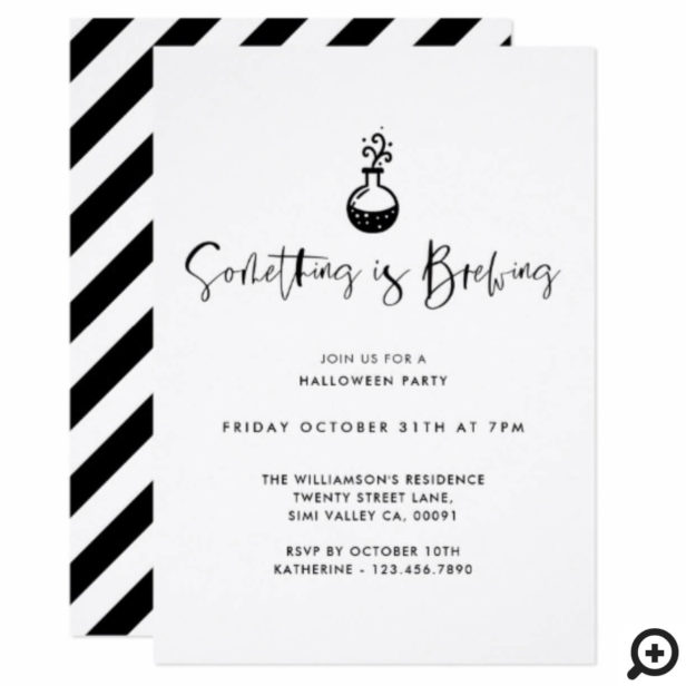 Something Is Brewing Black Minimal Halloween Party Invitation