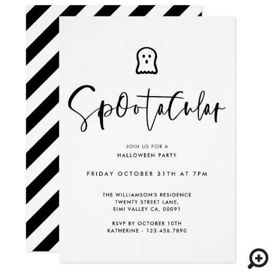 Spootacular Black Minimal Ghost Halloween Party Invitation
