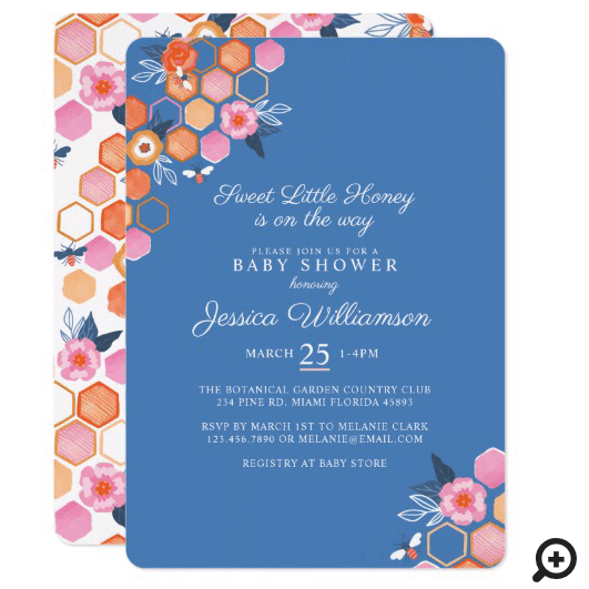 Sweet Little Honey On The Way | Blue Floral Bee Invitation