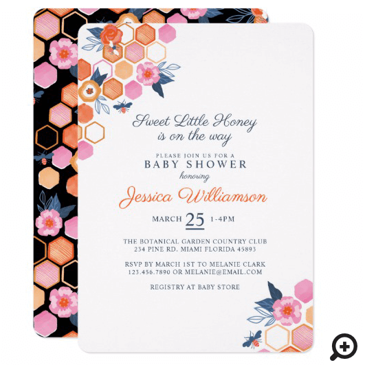 Sweet Little Honey On The Way | White Floral Bee Invitation
