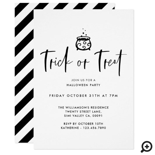 Trick Or Treat Black Minimal Halloween Party Invitation