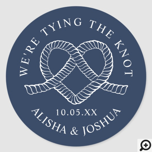Tying The Knot Rope Heart Nautical Navy & White Classic Round Sticker