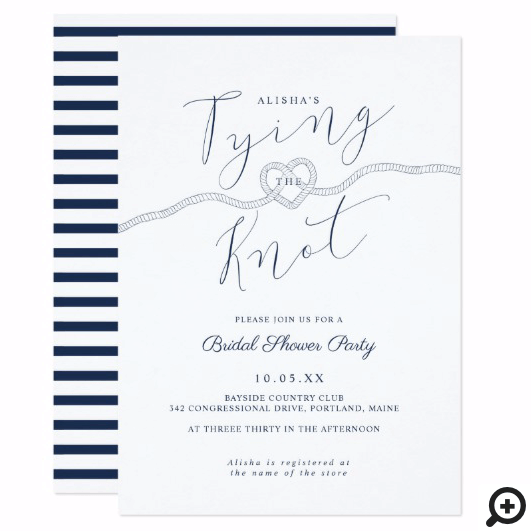 Tying The Knot Rope Heart Nautical Navy & White Invitation