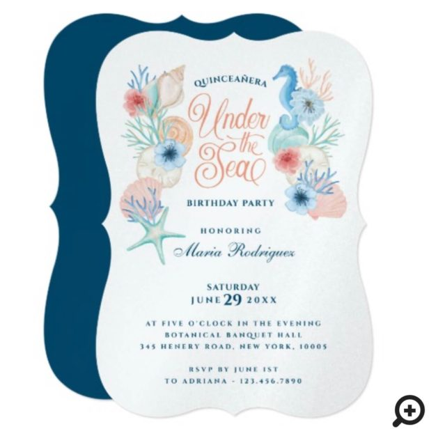 Under The Sea Watercolor Seashells Quinceañera Invitation