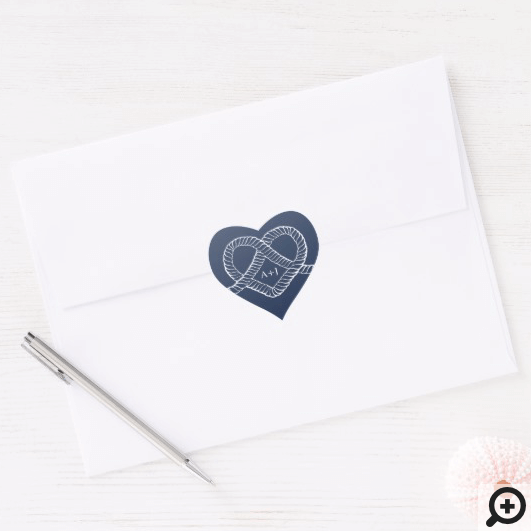 We Tied The Knot Rope Heart Nautical Navy & White Heart Sticker