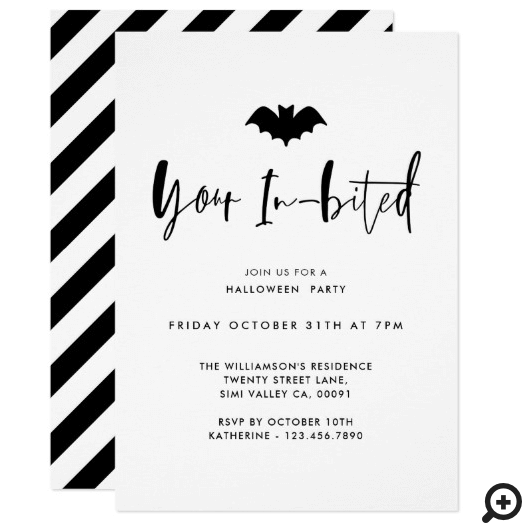 Your In-Bited Black Bat Minimal Halloween Party Invitation