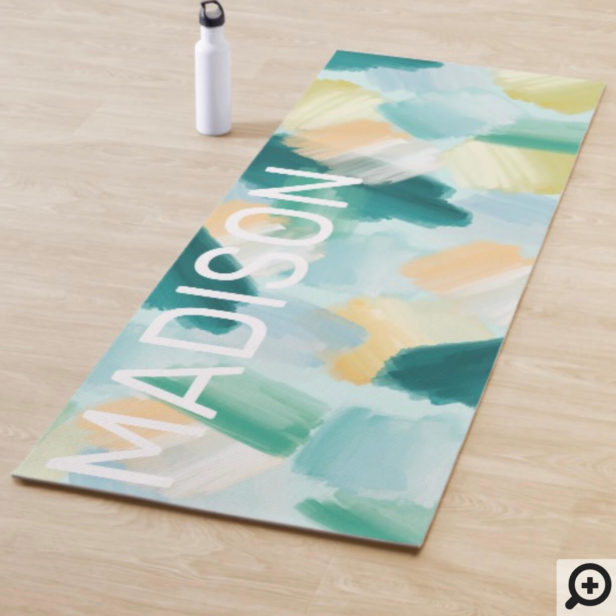 Abstract Wispy Watercolor Brush Strokes Mint Yoga Mat