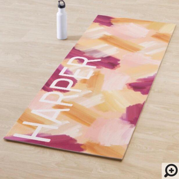 Abstract Wispy Watercolor Brush Strokes Peach Yoga Mat