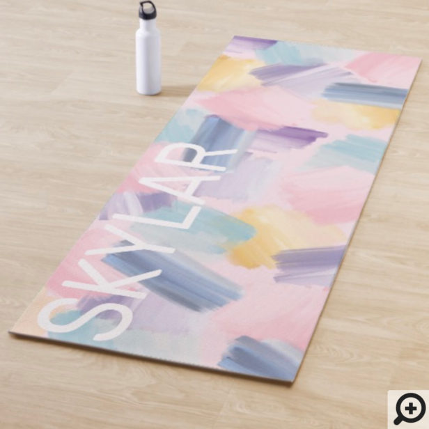 Abstract Wispy Watercolor Brush Strokes Pink Yoga Mat