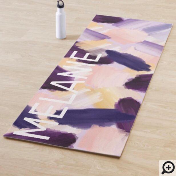 Abstract Wispy Watercolor Brush Strokes Purple Yoga Mat
