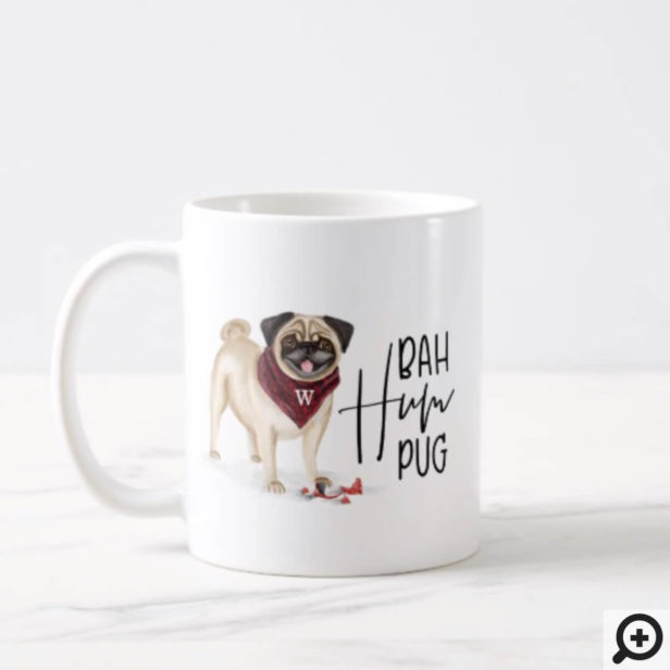 Bah Humpug Naughty Dog Watercolor Cute Pug Dog Coffee Mug
